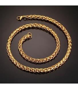 Fonott láncszemes, arany bevonatos nemesacél nyaklánc ( 60 cm - 7 mm)