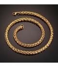 Fonott láncszemes, arany bevonatos nemesacél nyaklánc ( 60 cm - 6 mm)