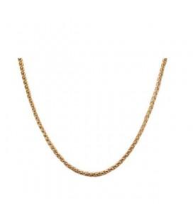 Aranyozott, fonott szemes nemesacél nyaklánc ( 50 cm - 3 mm)