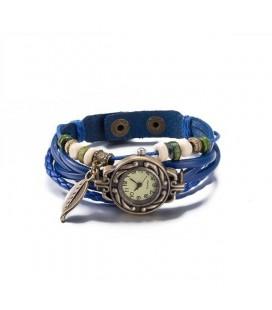 Bőrből készült, antikolt karkötő óra - kék