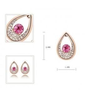 ékszer webshop Rózsaszín kristályos csepp fülbevaló