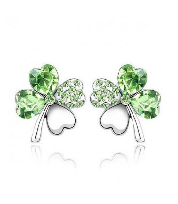 ékszer webshop Zöld kristályos szerencse fülbevaló