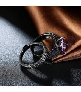 ékszer webshop Lila köves dupla gyűrű, fekete bevonattal