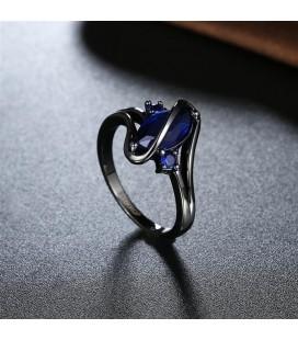 ékszer webshop Kék köves egyedi gyűrű, fekete bevonattal