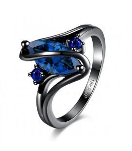 Kék köves egyedi gyűrű, fekete bevonattal