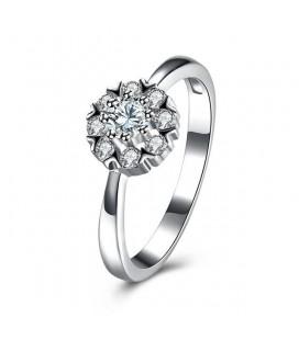 925 sterling ezüst eljegyzési gyűrű hófehér cirkóniával