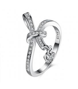 925 sterling ezüst gyűrű hófehér cirkóniával - Díszes masni