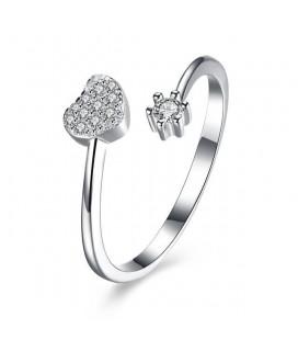 Kristályos szív és virág, állítható 925 sterling ezüst gyűrű