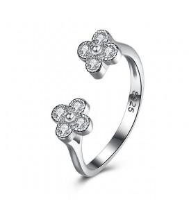 Kristályos virágok, állítható 925 sterling ezüst gyűrű