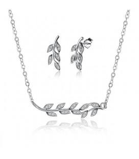 925 sterling ezüst, kristályos levelek ékszerszett