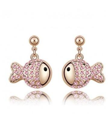 ékszer webshop Rózsaszín kristályos halacska fülbevaló