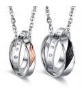 Feliratos páros gyűrű medál nemesacélból, nyaklánccal - Eternal Love