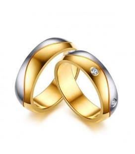 Kéttónusú, férfi nemesacél karikagyűrű, hullám bevéséssel