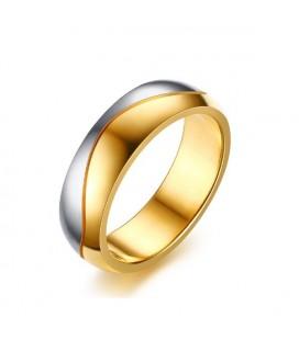 ékszer webshop Kéttónusú, férfi nemesacél karikagyűrű, hullám