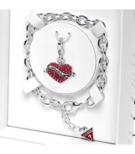 ékszer webshop GUESS karkötő, Swarovski kristályos szív charmmal