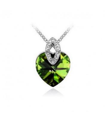 ékszer webshop Zöld kristályos elegáns szív nyaklánc