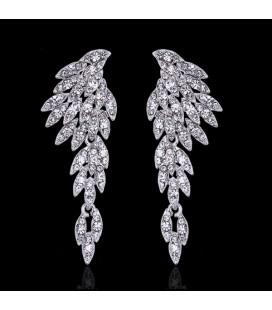 Fehér kristályos angyalszárny menyasszonyi fülbevaló