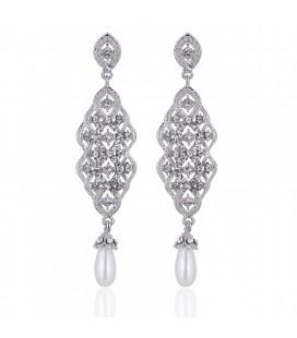 Exkluzív menyasszony fülbevaló kristály és gyöngy díszítéssel