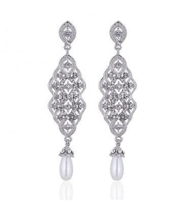 4a7eacc09 ✅ Különleges Exkluzív menyasszony fülbevaló kristály és gyöngy dísz...