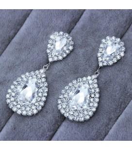 Hatalmas kristálycseppek menyasszonyi fülbevaló