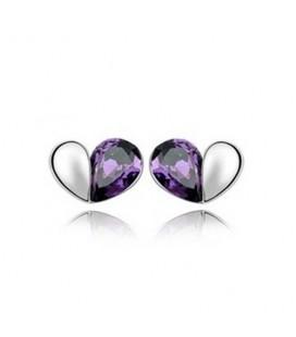 ékszer webshop Lila kristályos szívecske fülbevaló