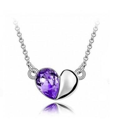 ékszer webshop Lila kristályos szív nyaklánc