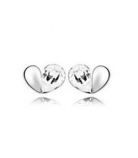 ékszer webshop Fehér kristályos szívecske fülbevaló