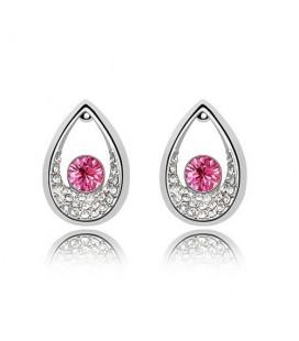 Rózsaszín kristályos cseppek fülbevaló