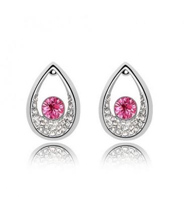 ékszer webshop Rózsaszín kristályos cseppek fülbevaló