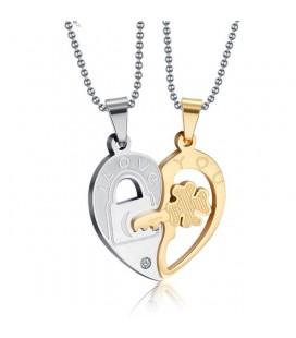 Fél szív, összeilleszthető páros medál szett nemesacélból, nyaklánccal - I love you