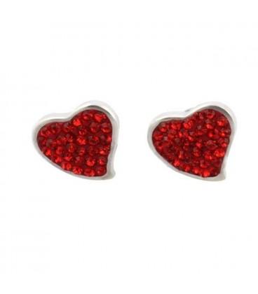 ékszer webshop Nemesacél szív fülbevaló piros kristályokkal