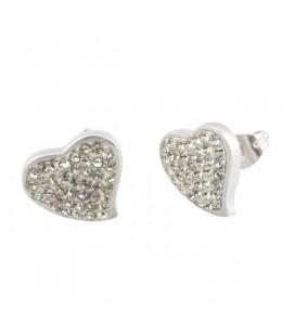 Nemesacél szív fülbevaló fehér kristályokkal