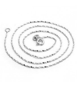 ékszer webshop Lapított szemes ezüst nyaklánc ródium bevonattal