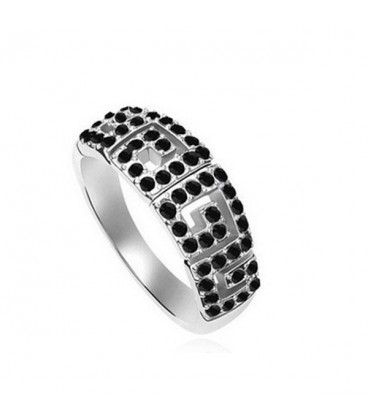 ékszer webshop Görög mintával díszített, apró köves gyűrű
