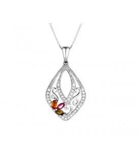Swarovski kristályos ezüst medál cirkónia virággal díszítve