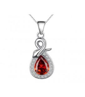 Ezüst csepp medál rubinpiros kővel, kígyó motívummal