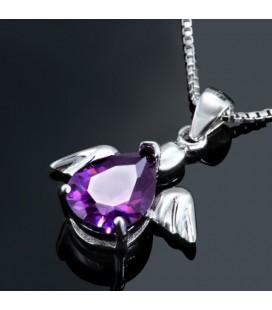 ékszer webshop Lila cirkónia köves angyal medál ezüstből