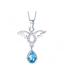 Ezüst angyal medál csepp alakú kristállyal