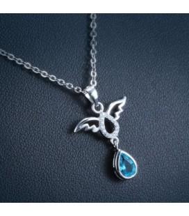ékszer webshop Ezüst angyal medál csepp alakú kristállyal