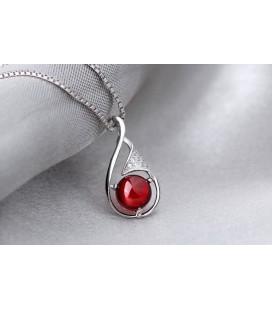 ékszer webshop Ezüst csepp medál piros kővel
