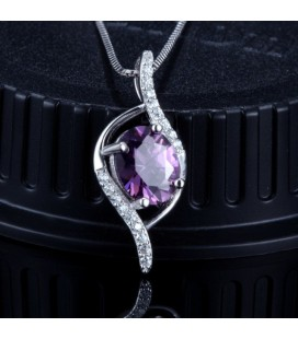 ékszer webshop Lila köves ezüst kristályszem medál
