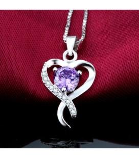 ékszer webshop Lila kristályos ezüst szív medál