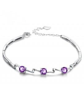 ékszer webshop Ezüst karkötő lila cirkónia kövekkel