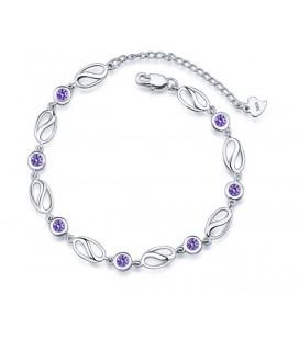 ékszer webshop Egyedi ezüst karkötő kerek, lila cirkónia