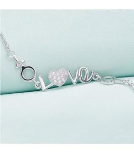 ékszer webshop Szíves ezüst karkötő love felirattal cirkóniával