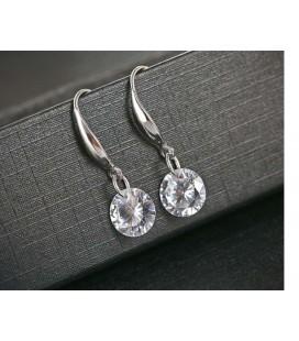 ékszer webshop Beakasztós ezüst fülbevaló fehér cirkónia kővel