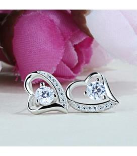 ékszer webshop Ezüst szív fülbevaló fehér cirkónia kővel