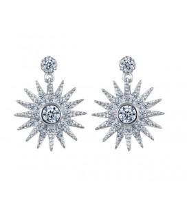 Ezüst csillag fülbevaló csillogó kristályokkal