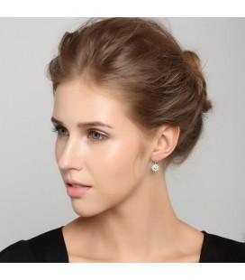 ékszer webshop Napkorong ezüst fülbevaló kristályokkal