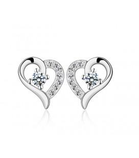 ékszer webshop Ezüst szív fülbevaló fehér cirkóniával